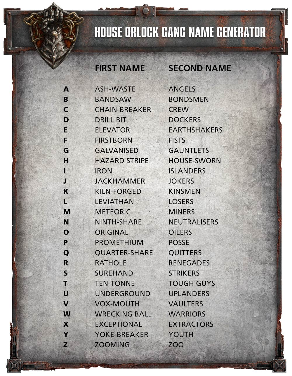 The Orlock Gang Name Generator - Warhammer Community