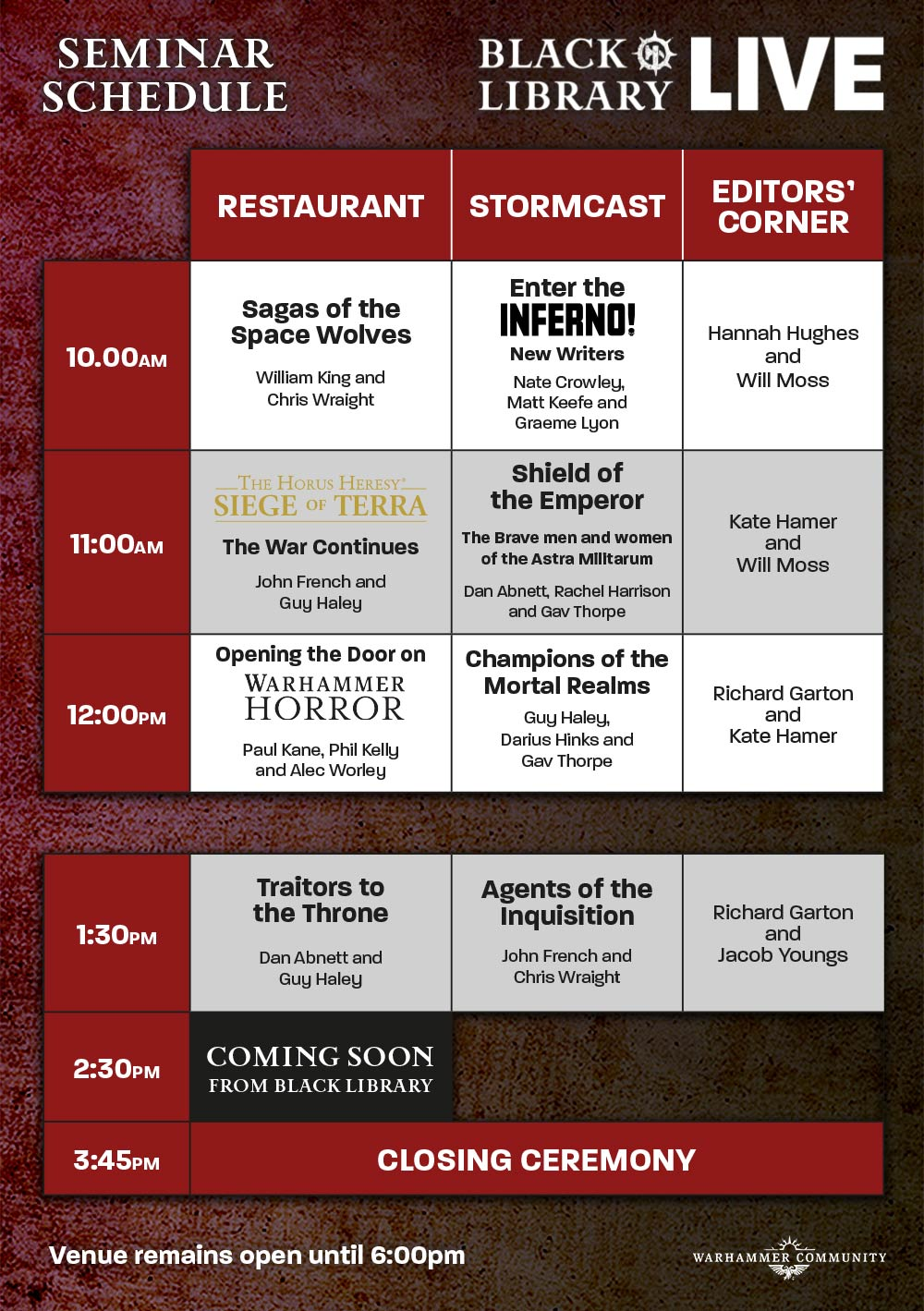 Programme des publications The Black Library 2019 - UK - Page 3 BlLive-May12-Schedule20yhcde