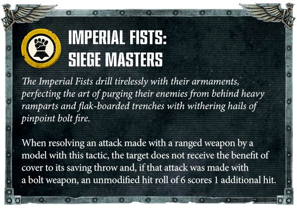 Warhammer 40000 Space Marines Imperial Fists rules